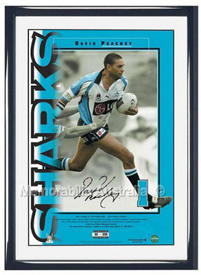 Cronulla Sharks – David Peachey 'Numbers Up' Signed ...
