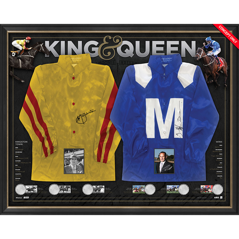 Horse Racing – WINX & Kingston Town Dual Signed Framed Repli...