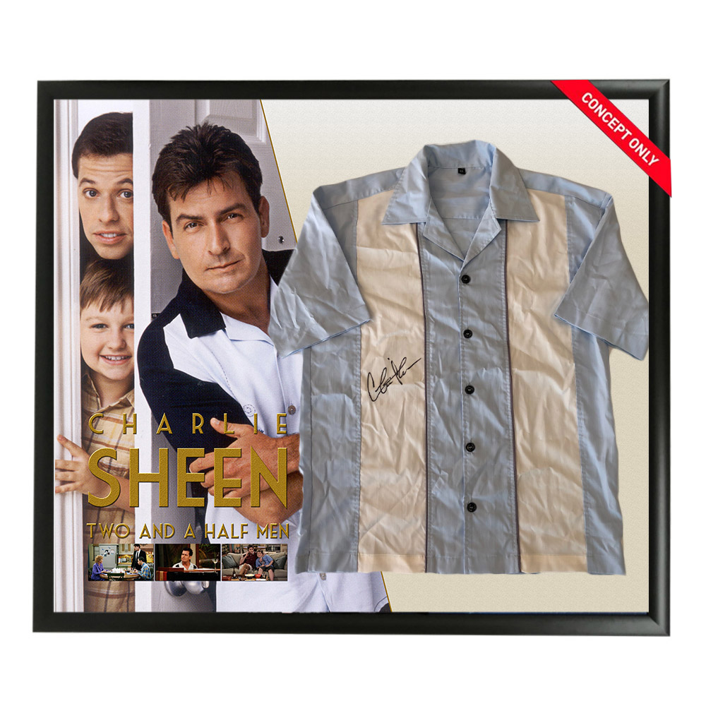 Charlie Sheen Signed & Framed Blue Bowling Shirt Display