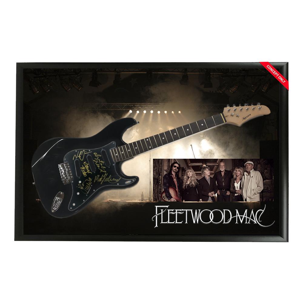 Music – Fleetwood Mac Hand Signed & Framed Full size Guitar...