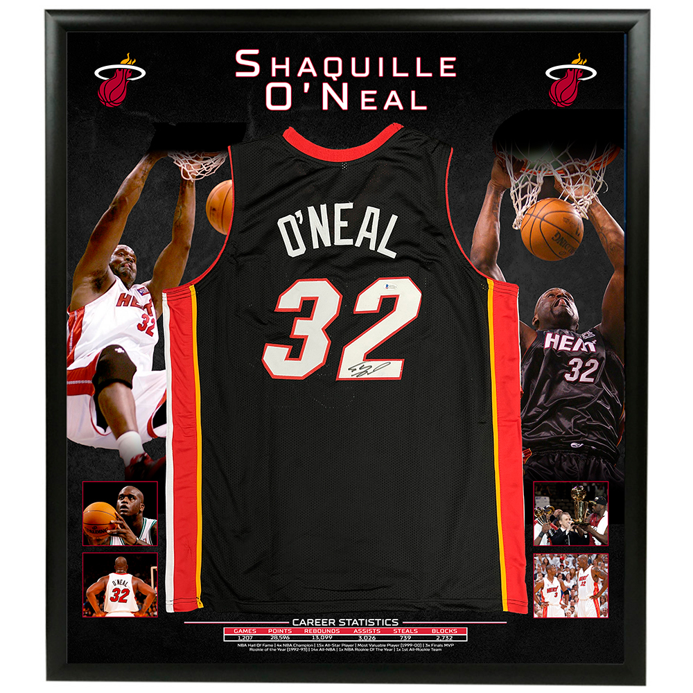 Basketball – Shaquille O'Neal Signed & Framed Miami H...